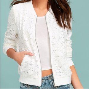 Forever 21 White Lace Bomber Jacket